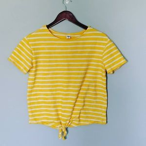 Old Navy Yellow Stripe Tie Knot Front Blouse